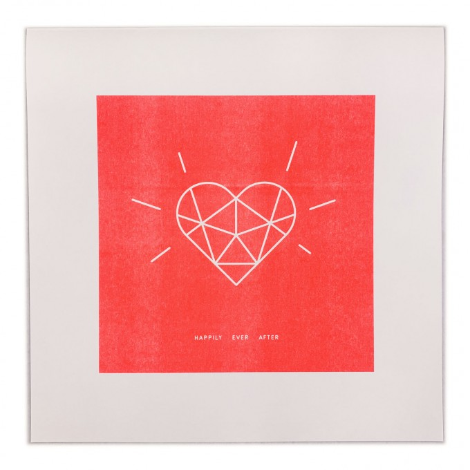 Feingeladen // SIMPLY DIVINE // Crystal Heart »Happily ever after« (FR), RISO-Kunstdruck, 30 x 30 cm