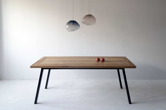 FraaiBerlin – Esstisch aus Altholz Eiche Jasmijn/Aleida 200x100cm schwarz