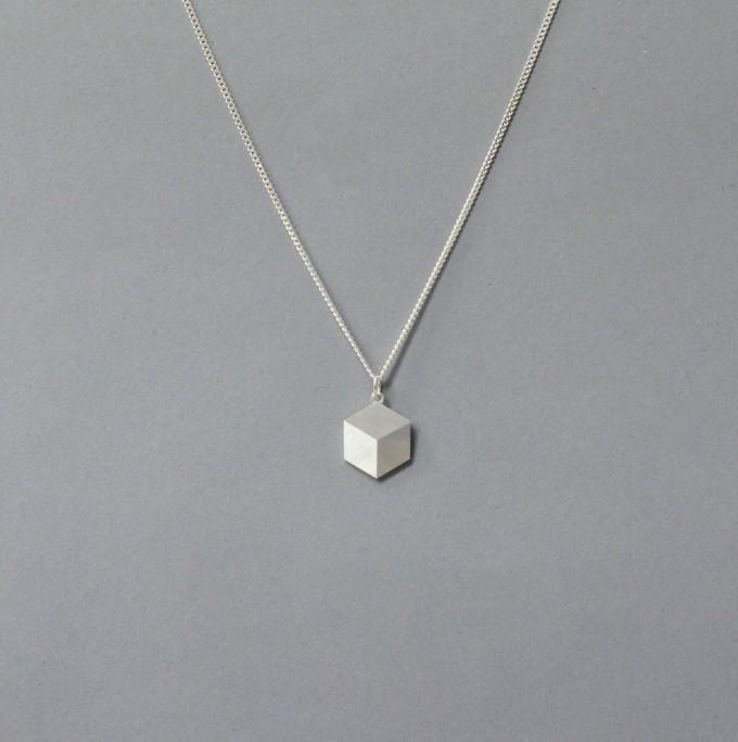 """Teresa Gruber Anhänger """"flat platonics- cube"""", 925 Silber"""