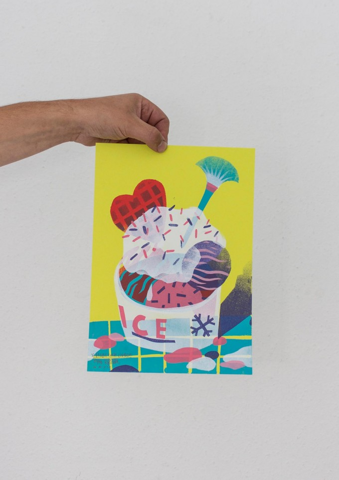 Martin Krusche – Stencil Artprint »Eisbecher Liebe« DINA4
