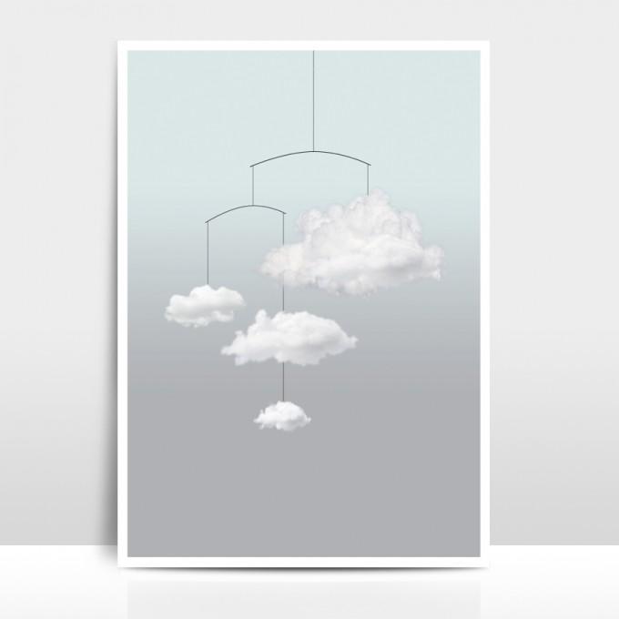 """Amy & Kurt Berlin A3 Artprint """"Wolkenmobile"""""""