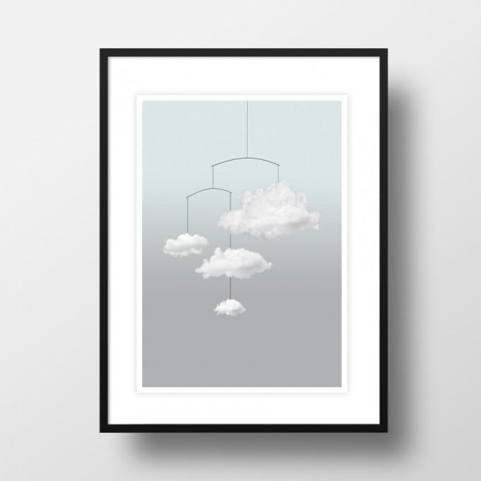 """Amy & Kurt Berlin A4 Artprint """"Wolkenmobile"""""""