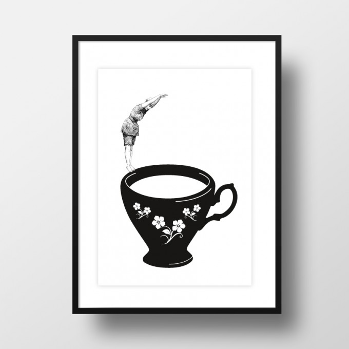 "Amy & Kurt Berlin A4 Artprint ""Kopfsprung in Teetasse"""