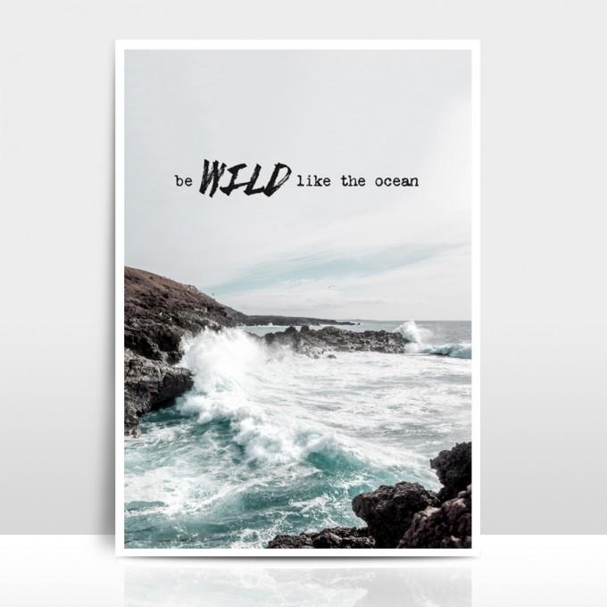 """Amy & Kurt Berlin A4 Artprint """"Wild like the ocean"""""""