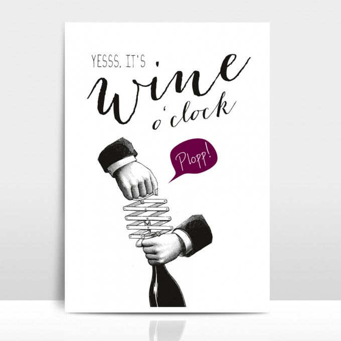 "Amy & Kurt Berlin A4 Artprint ""Wine o'clock"""