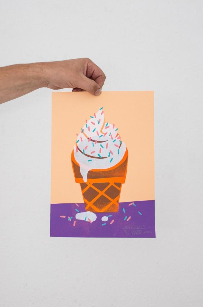 Martin Krusche – Stencil Artprint »Softeis« DINA4