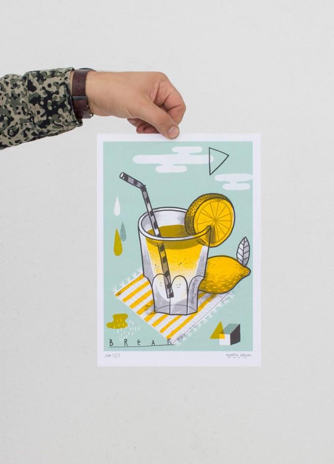 Martin Krusche – Stencil Artprint »Zitronenlimonade« DIN A4
