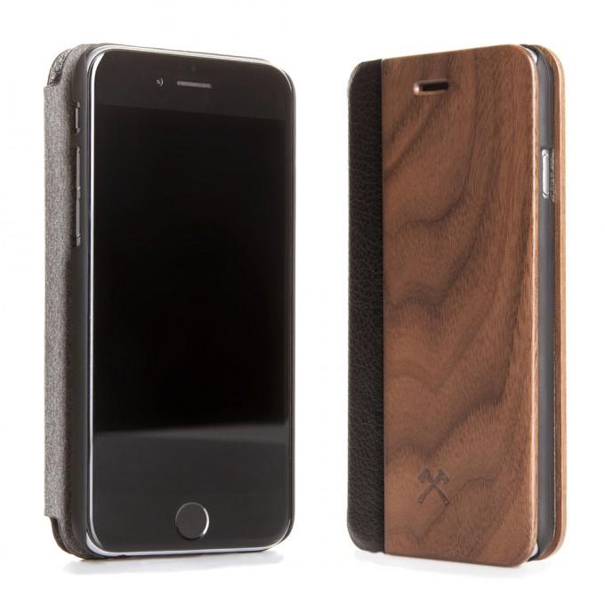Woodcessories - EcoFlip Case - Premium Design Hülle, Case, Cover für das iPhone 6 Plus / 6s Plus aus FSC zert. Holz & hochwertiger Lederoptik (Walnuss, Ahorn)