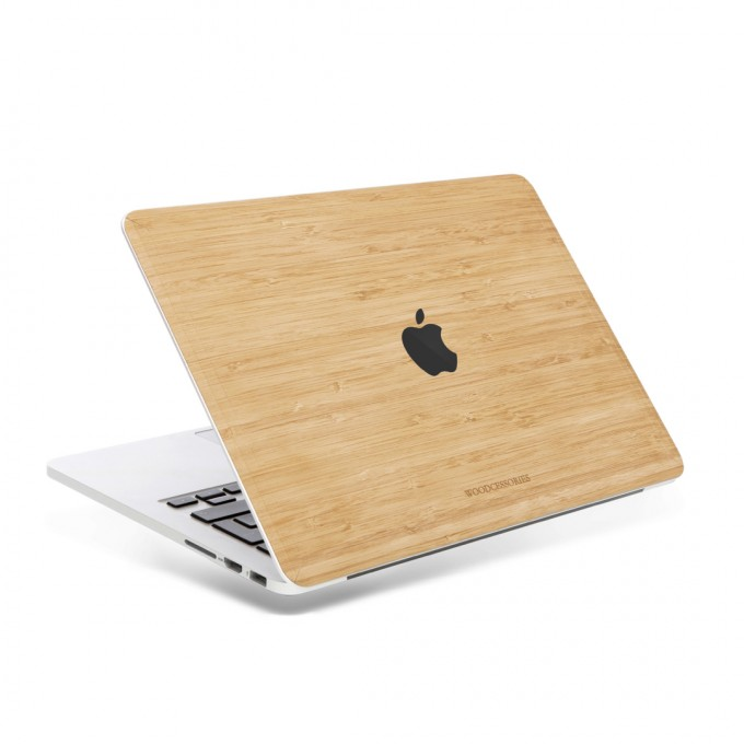 Woodcessories - EcoSkin - Design Macbook Cover, Skin, Schutz für das Macbook mit Apfellogo aus FSC zert. Holz (Macbook 13 Pro (Touchbar), Bambus)