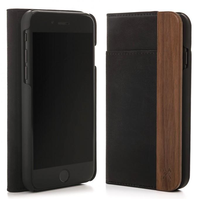 Woodcessories - EcoWallet - Premium Design Hülle, Case, Cover für das iPhone aus FSC zert. Walnuss Holz & hochwertiger Lederoptik (iPhone 7/ 8)