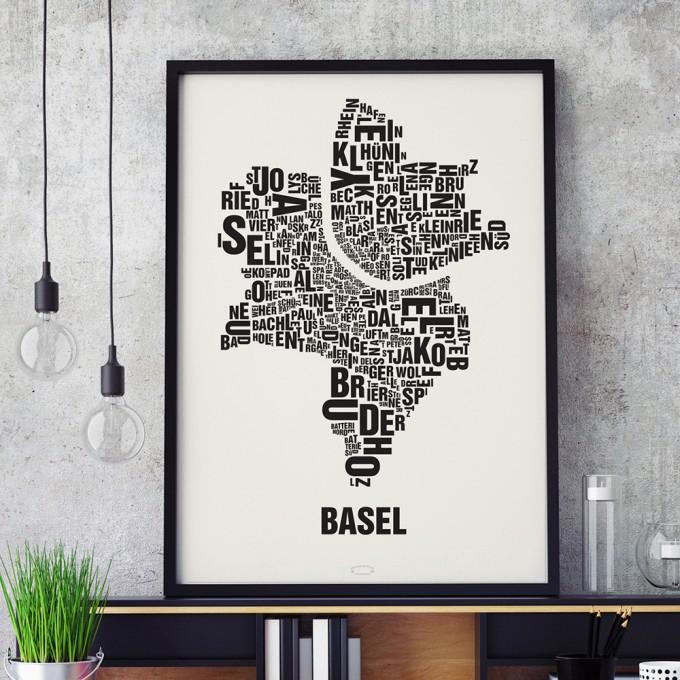Buchstabenort Basel Stadtteile-Poster Typografie Siebdruck