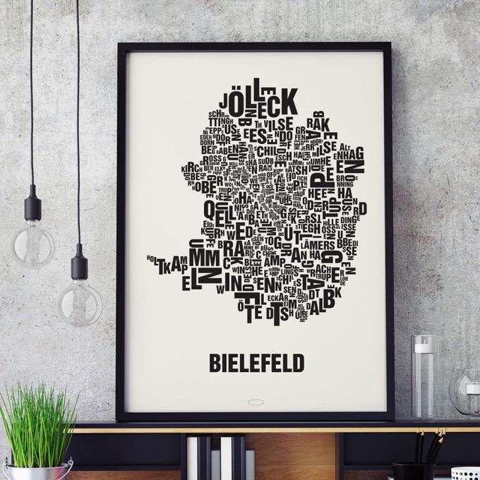 Buchstabenort Bielefeld Stadtteile-Poster Typografie Siebdruck