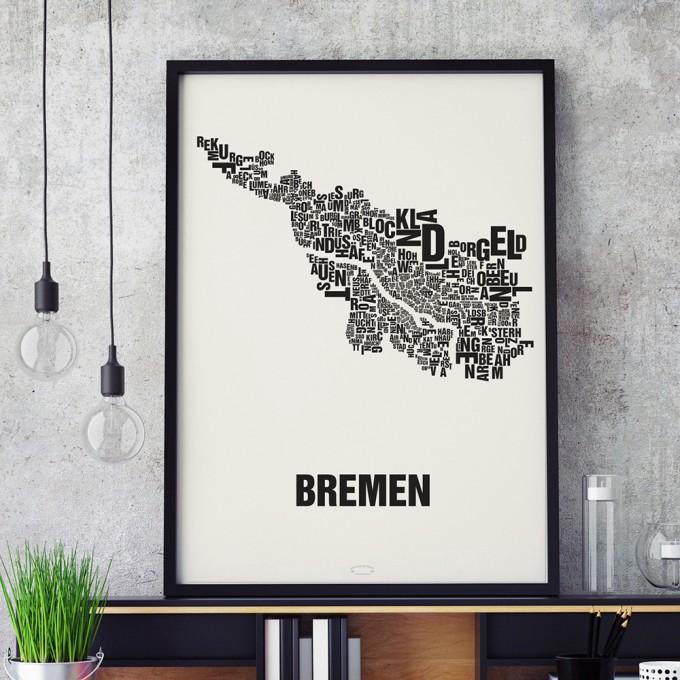 Buchstabenort Bremen Stadtteile-Poster Typografie Siebdruck