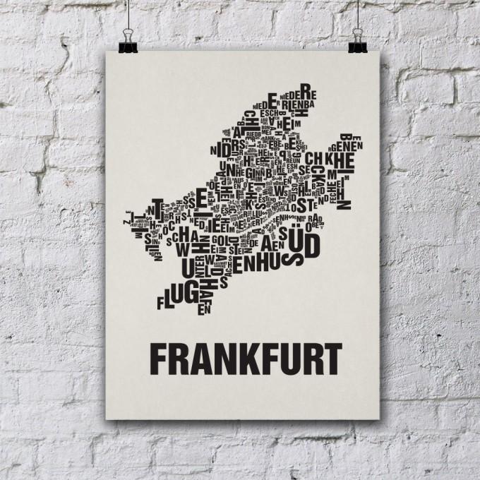 Buchstabenort Frankfurt Stadtteile-Poster Typografie