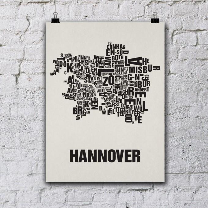 Buchstabenort Hannover Stadtteile-Poster Typografie