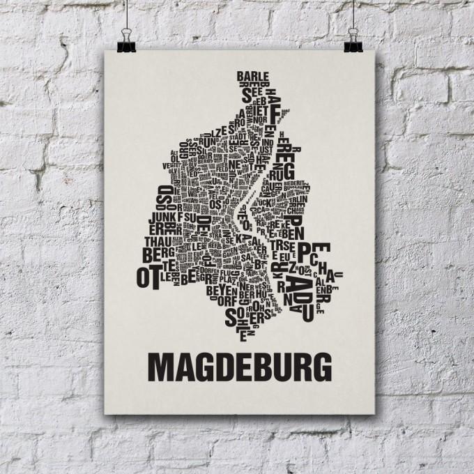 Buchstabenort Magdeburg Stadtteile-Poster Typografie