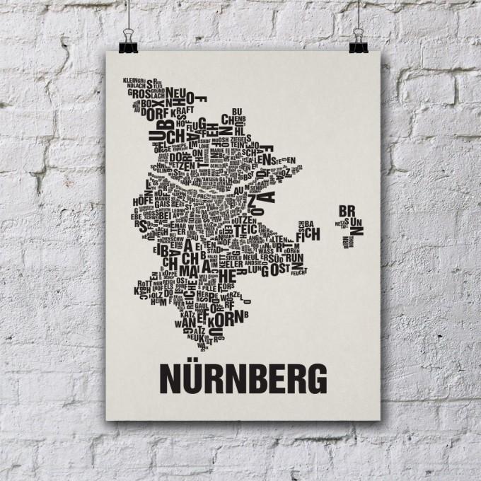 Buchstabenort Nürnberg Stadtteile-Poster Typografie