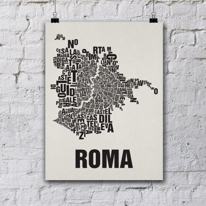 Buchstabenort Rom Stadtteile-Poster Typografie