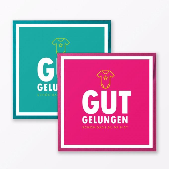 """TYPOP 2-teiliges Set Babykarte """"Gut gelungen"""" Türkis + Pink quadratisch inkl. Umschläge"""