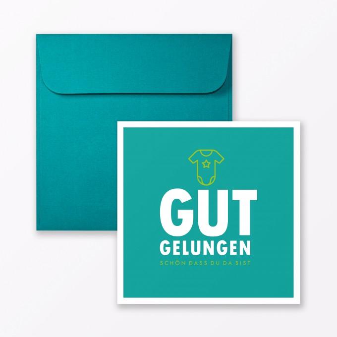 "TYPOP Babykarte ""Gut gelungen"" in Türkis quadratisch inkl. Umschlag"