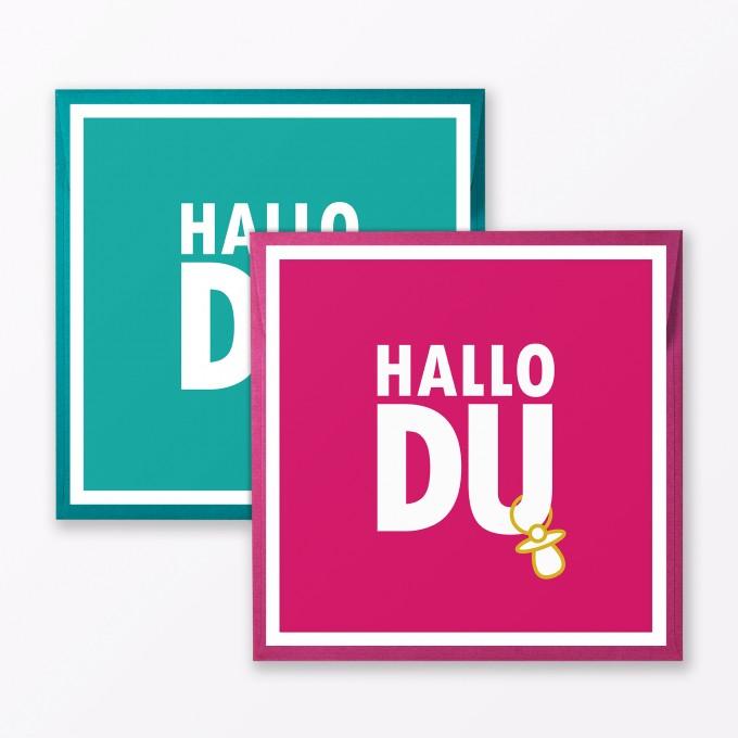 """TYPOP 2-teiliges Set Babykarte """"Hallo Du"""" Türkis + Pink quadratisch inkl. Umschläge"""