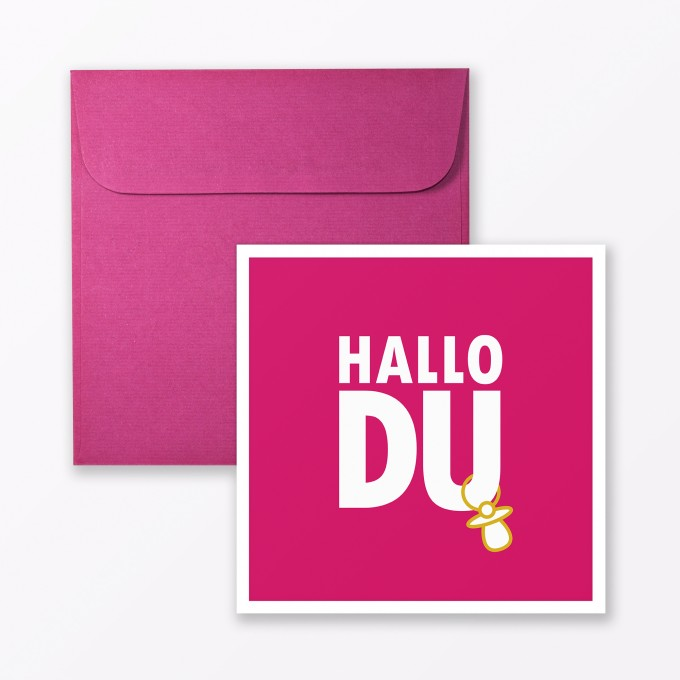 "TYPOP Babykarte ""Hallo Du"" in Pink quadratisch inkl. Umschlag"