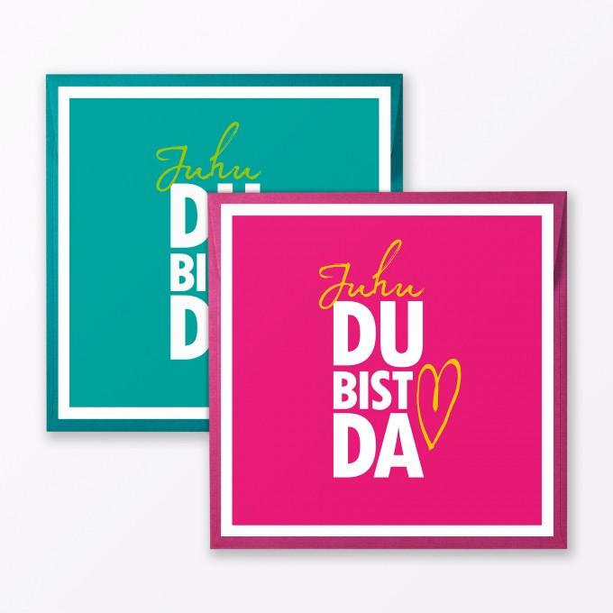 """TYPOP 2-teiliges Set Babykarte """"Juhu Du bist da"""" in Türkis + Pink quadratisch inkl. Umschläge"""