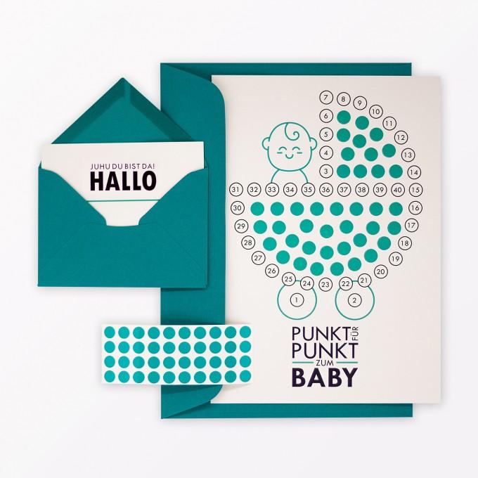 """TYPOP 5-teiliges Set Babykalender """"Hallo kleines Baby"""" inkl. Umschlag, Minikarte + Umschlag und Klebepunkte"""