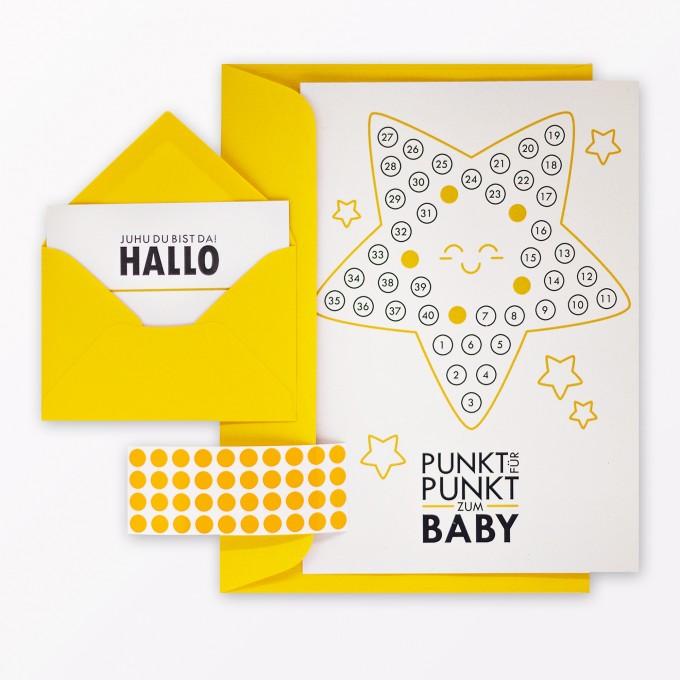 """TYPOP 5-teiliges Set Babykalender """"Hallo kleiner Stern"""" inkl. Umschlag, Minikarte + Umschlag und Klebepunkte"""