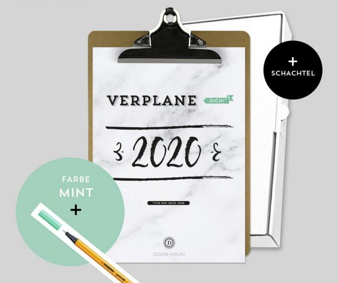 Design Verlag – Jahresplaner 2020 mit Klemmbrett   Farbe: Mint