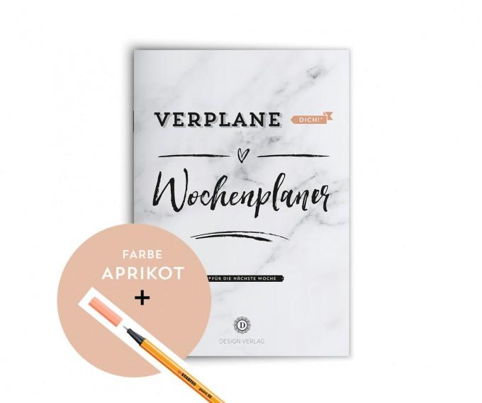 """Design Verlag / Wochenplaner Notizbuch """"Verplane dich!"""" - Aprikot"""
