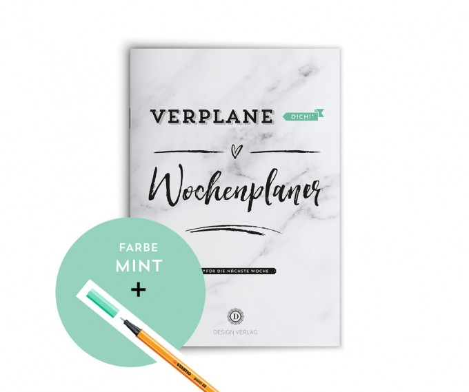 """Design Verlag / Wochenplaner Notizbuch """"Verplane dich!"""" - Mint"""