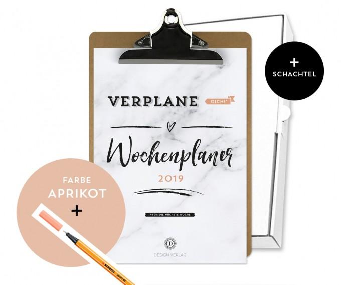 Design Verlag / Handlettering Wochenplaner Kalender Klemmbrett / Aprikot