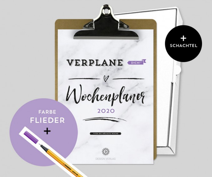 Design Verlag – Wochenplaner 2020 mit Klemmbrett   Farbe: Flieder
