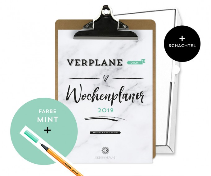 Design Verlag / Handlettering Wochenplaner Kalender Klemmbrett / Mint