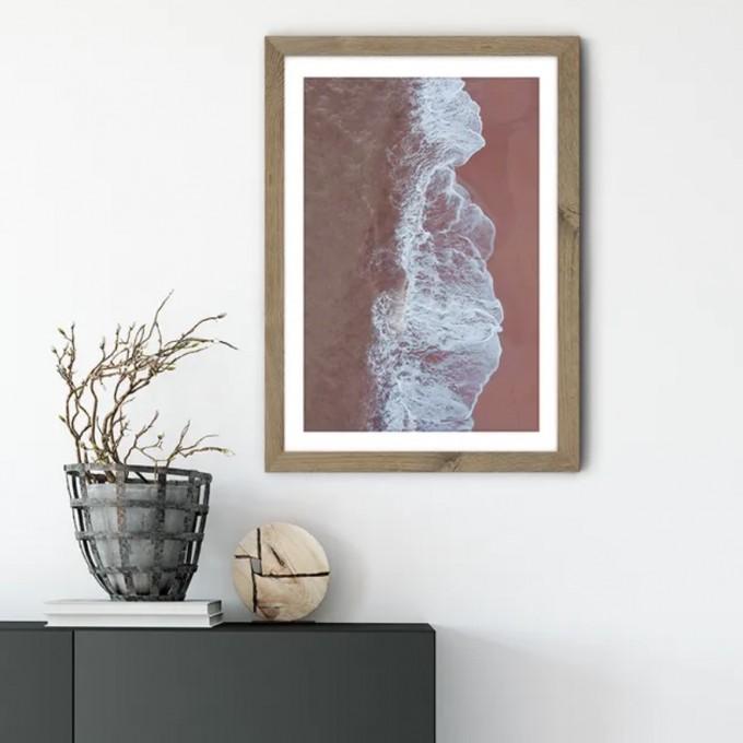 "nahili ARTPRINT / POSTER ""blush BEACH"" Drohnen Fotografie in rosa - Druck (DIN A1/A3 & 50x70cm)"