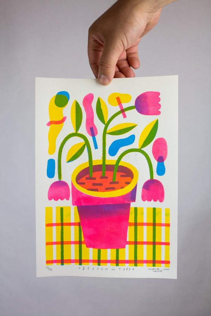 Martin Krusche - Stencilprint »Blumen im Topf«  DINA4