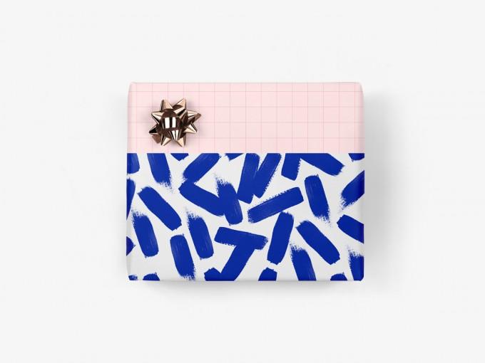 5x Geschenkpapier / Brush Strokes No. 1 (gefaltet)