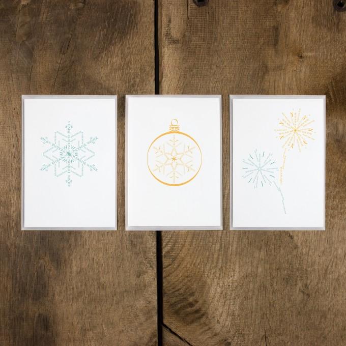 Bow & Hummingbird Grußkarten Goldener Winter
