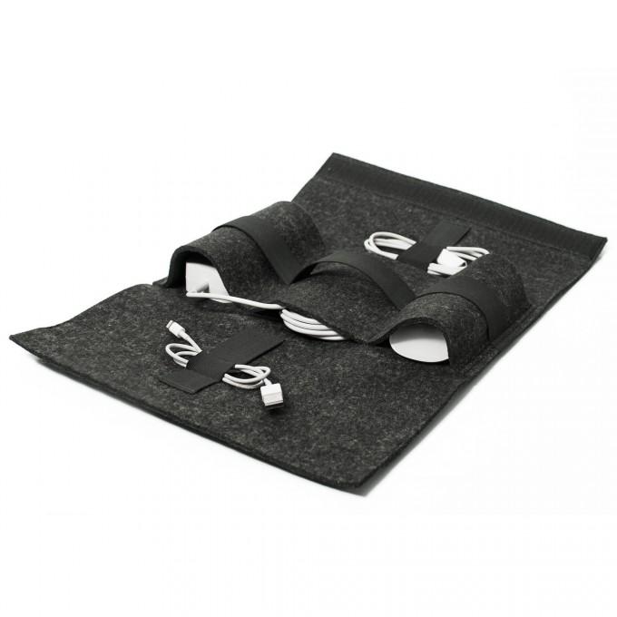 Buff-Accessory Bag Kabeltasche / Filz (charcoal) und Leder (schwarz) - Burning Love