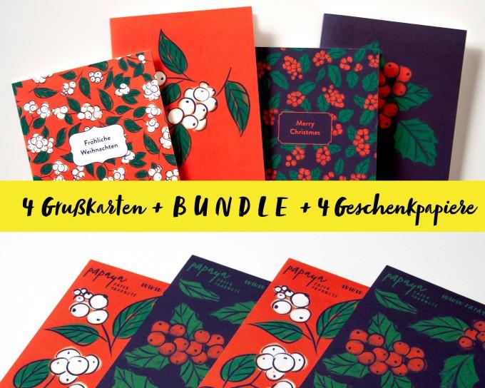 BUNDLE // 4 edle Weihnachtskarten mit passendem Geschenkpapier // Papaya paper products