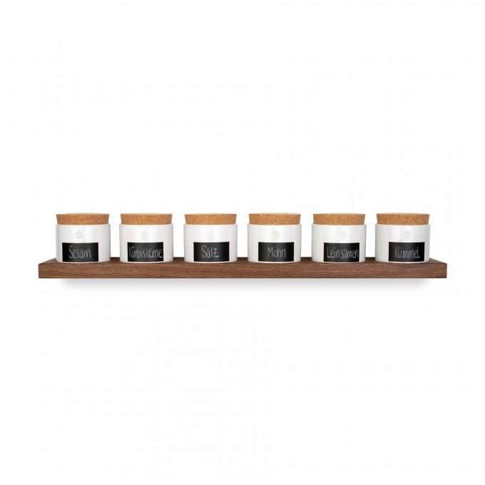 klotzaufklotz Vorratsdosenregal Nussbaum 6er mit kleinen Dosen
