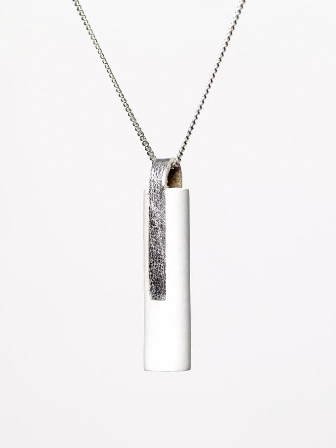 [GS04] Beton Halskette Kette Ovisproducts - WHITE SILVER