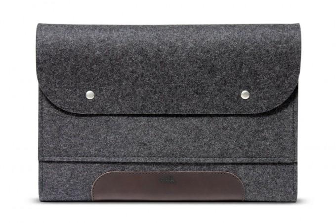 "Laptoptasche, iPad Pro, MacBook Pro Folio Case ""Corriedale"" 100% Merino Wollfilz (Mulesing-frei), Pflanzlich gegerbtes Leder"