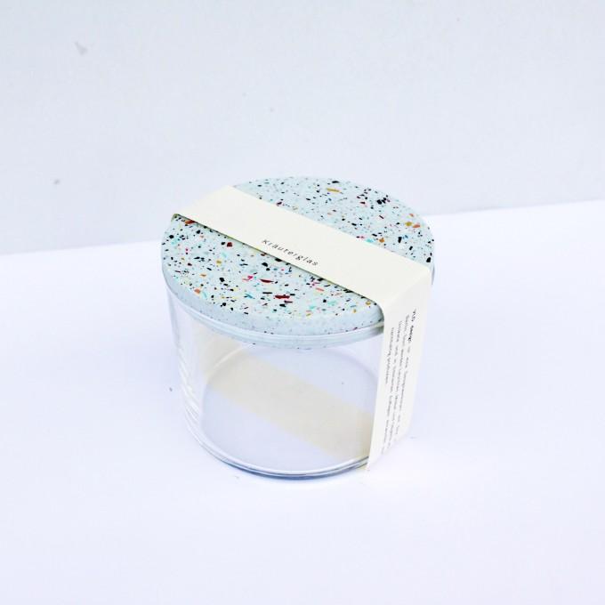 VLO design / Terrazzo Kleines Glas mit blauem Deckel