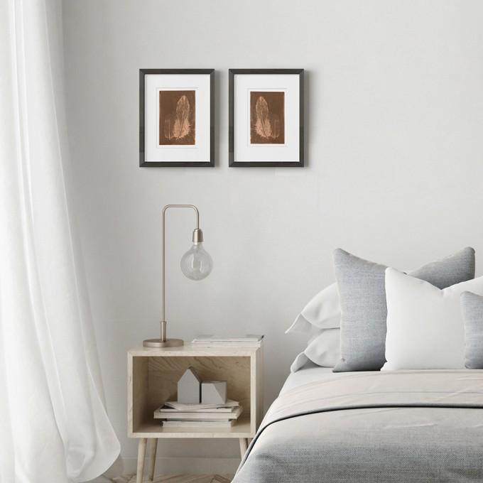 Federbild Paar auf Kupfer, 21x30 cm von Christina Pauls