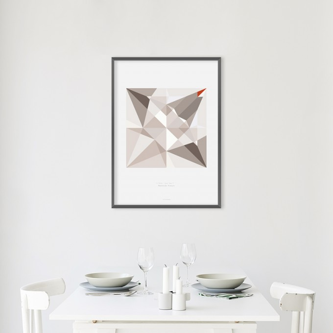 Origami Print Kranich, mehrfarbig,  von Christina Pauls