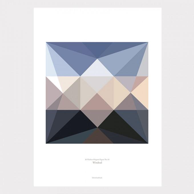 Origami Artprint Windrad, mehrfarbig, von Christina Pauls