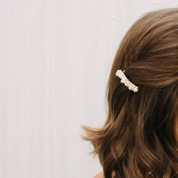 ST'ATOUR DELIA - Haarspange mit Perlen vergoldet