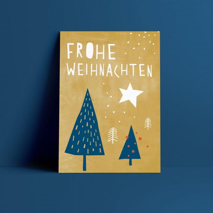 Designfräulein // Weihnachtskarte // Frohe Weihnachten gelb